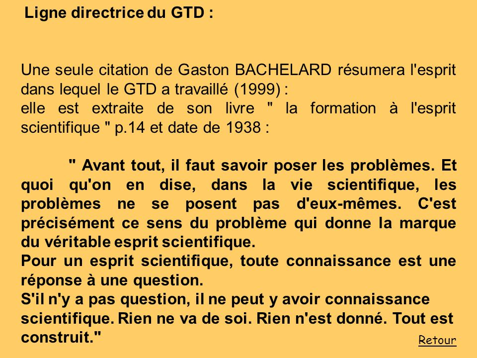 Ligne directrice du GTD :