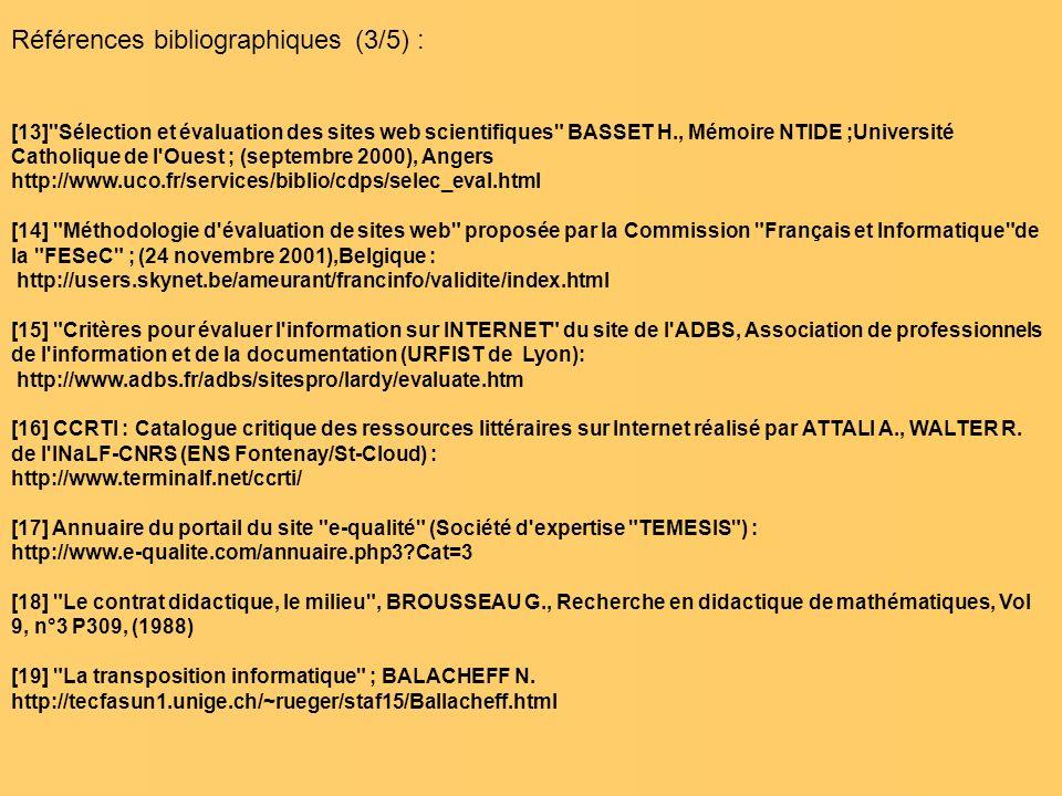 Références bibliographiques (3/5) :