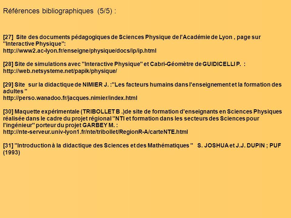 Références bibliographiques (5/5) :