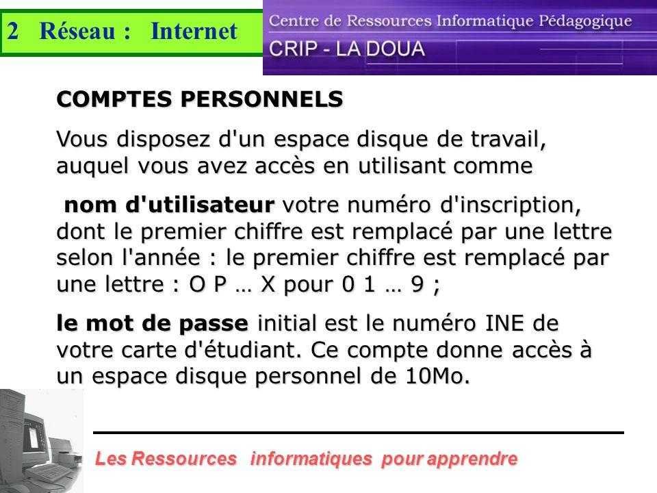 2 Réseau : Internet COMPTES PERSONNELS