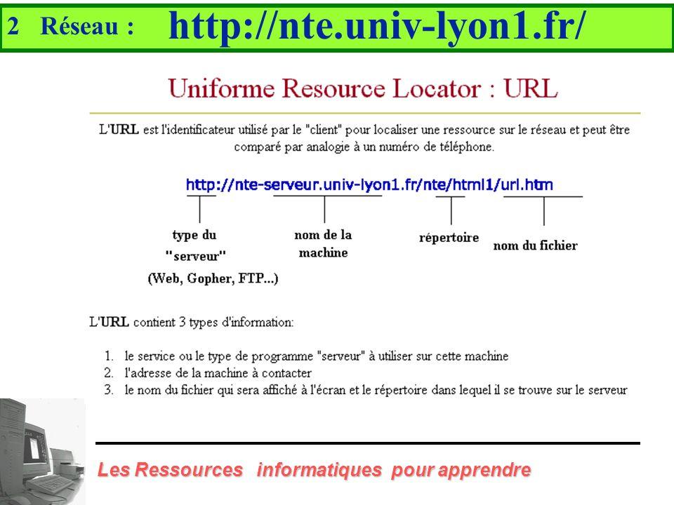 http://nte.univ-lyon1.fr/ 2 Réseau :