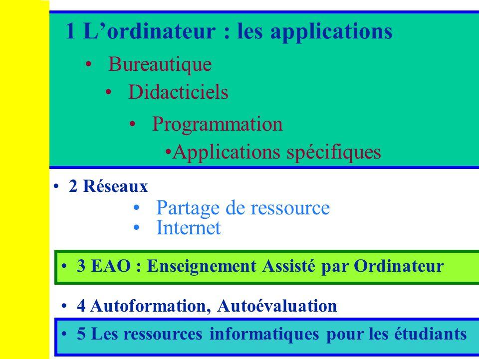 1 L'ordinateur : les applications