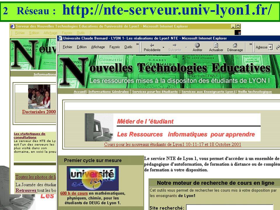 http://nte-serveur.univ-lyon1.fr/ 2 Réseau :