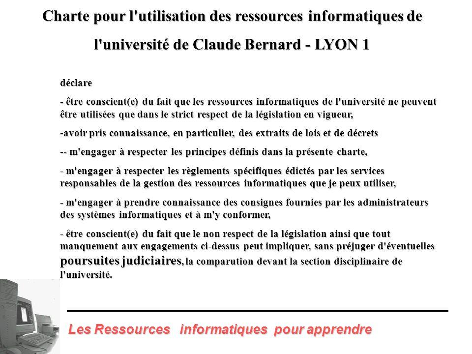 Charte pour l utilisation des ressources informatiques de