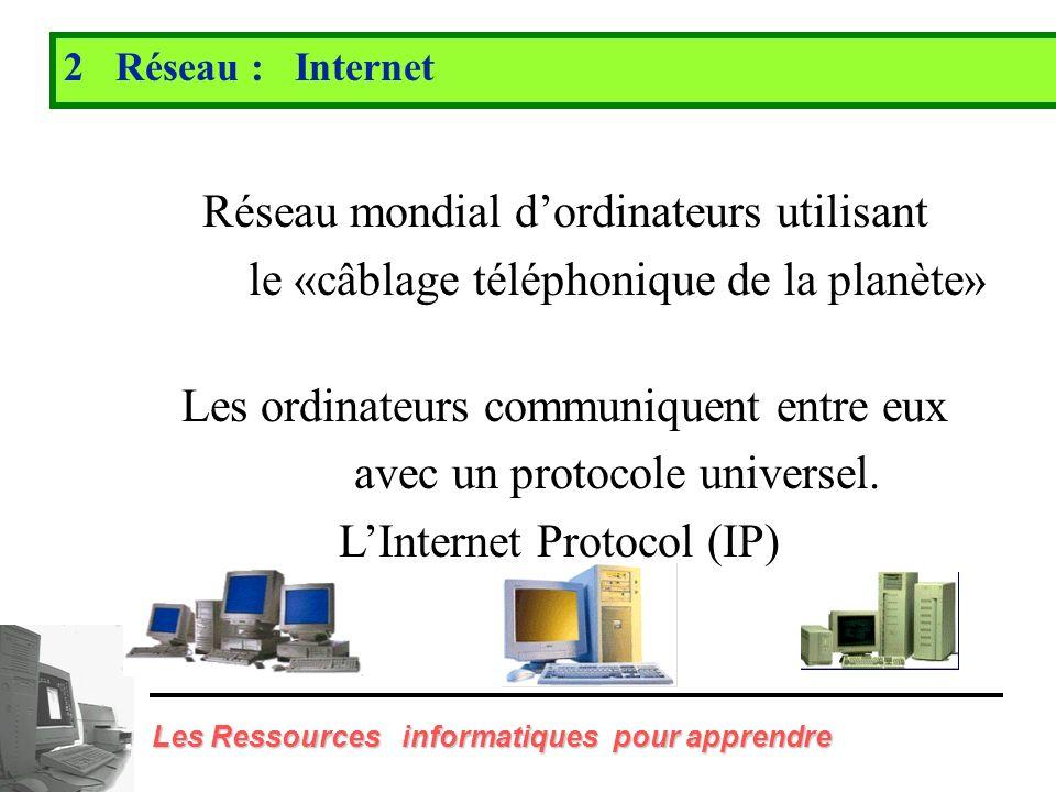 Réseau mondial d'ordinateurs utilisant