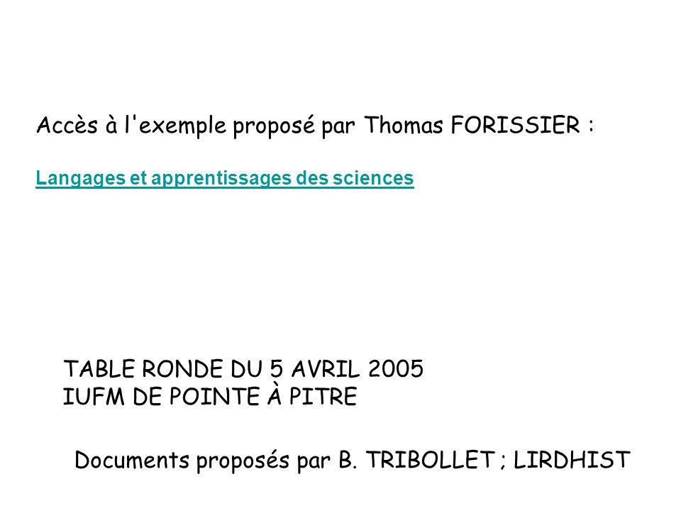 Accès à l exemple proposé par Thomas FORISSIER :