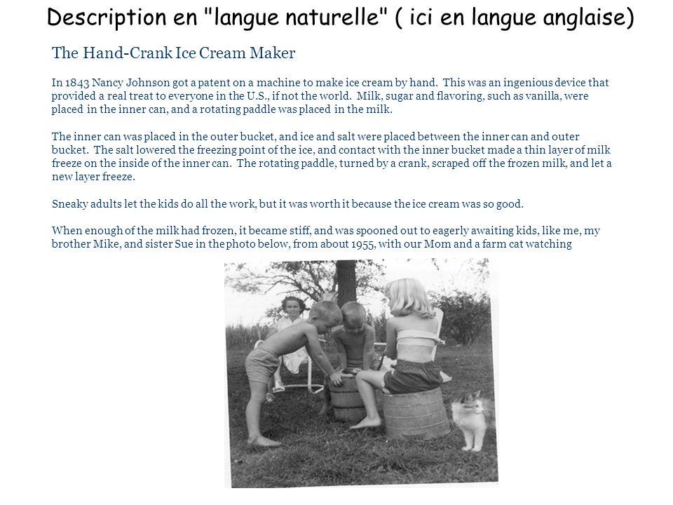 Description en langue naturelle ( ici en langue anglaise)