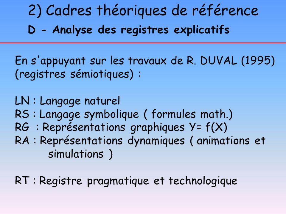 D - Analyse des registres explicatifs