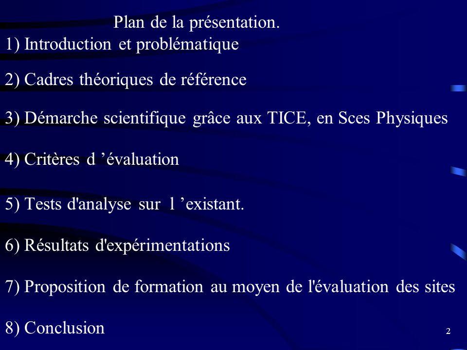 Plan de la présentation.