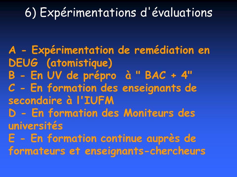 6) Expérimentations d évaluations