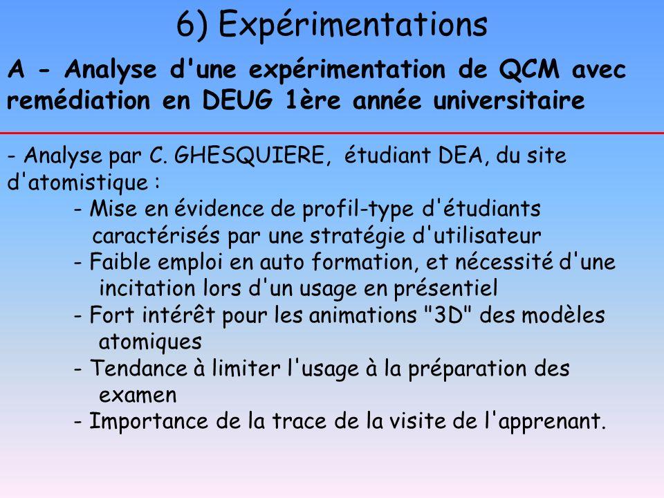 6) Expérimentations A - Analyse d une expérimentation de QCM avec remédiation en DEUG 1ère année universitaire.