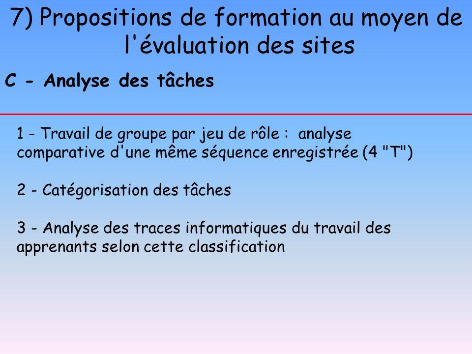 7) Propositions de formation au moyen de