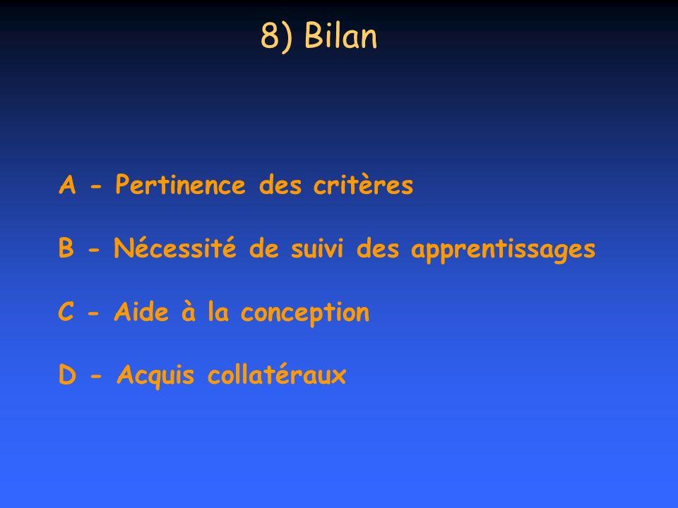 8) Bilan A - Pertinence des critères B - Nécessité de suivi des apprentissages C - Aide à la conception D - Acquis collatéraux.