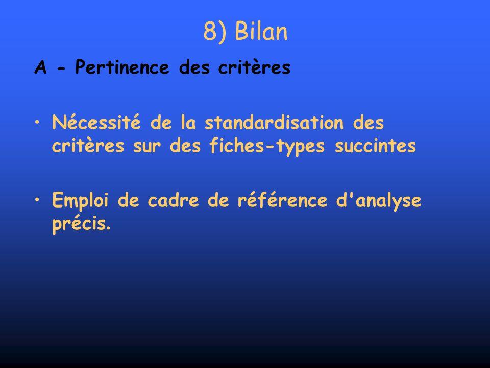 8) Bilan A - Pertinence des critères