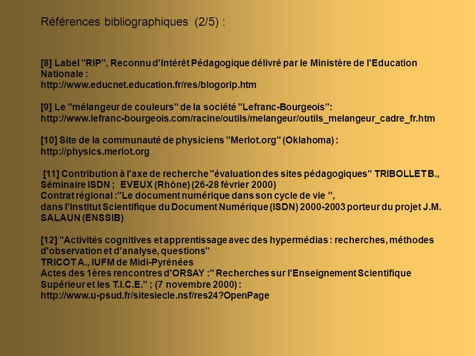 Références bibliographiques (2/5) :