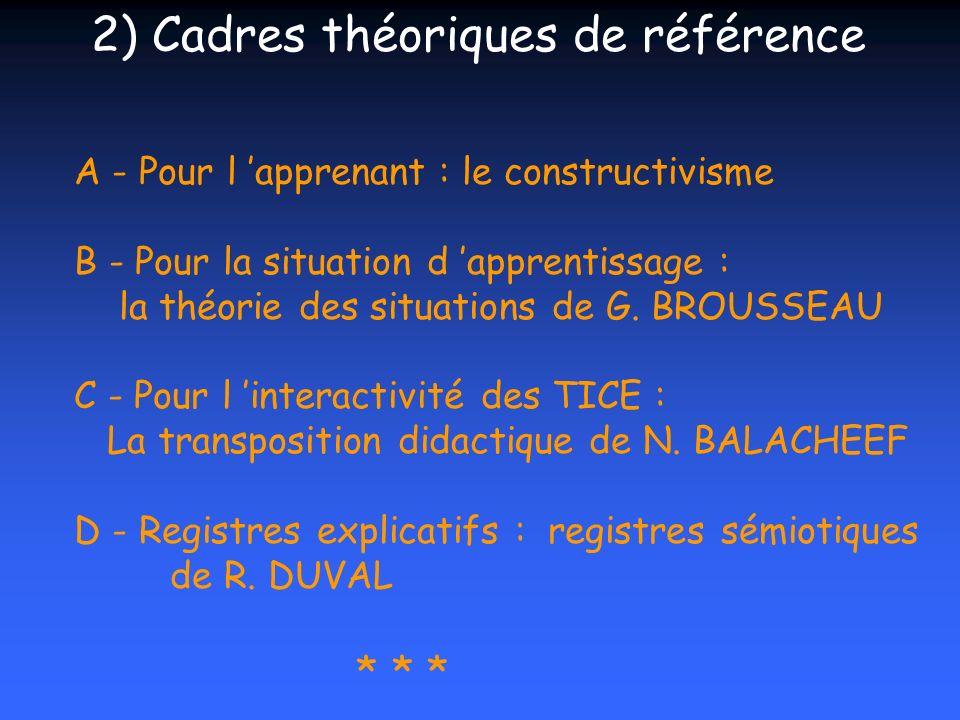 2) Cadres théoriques de référence