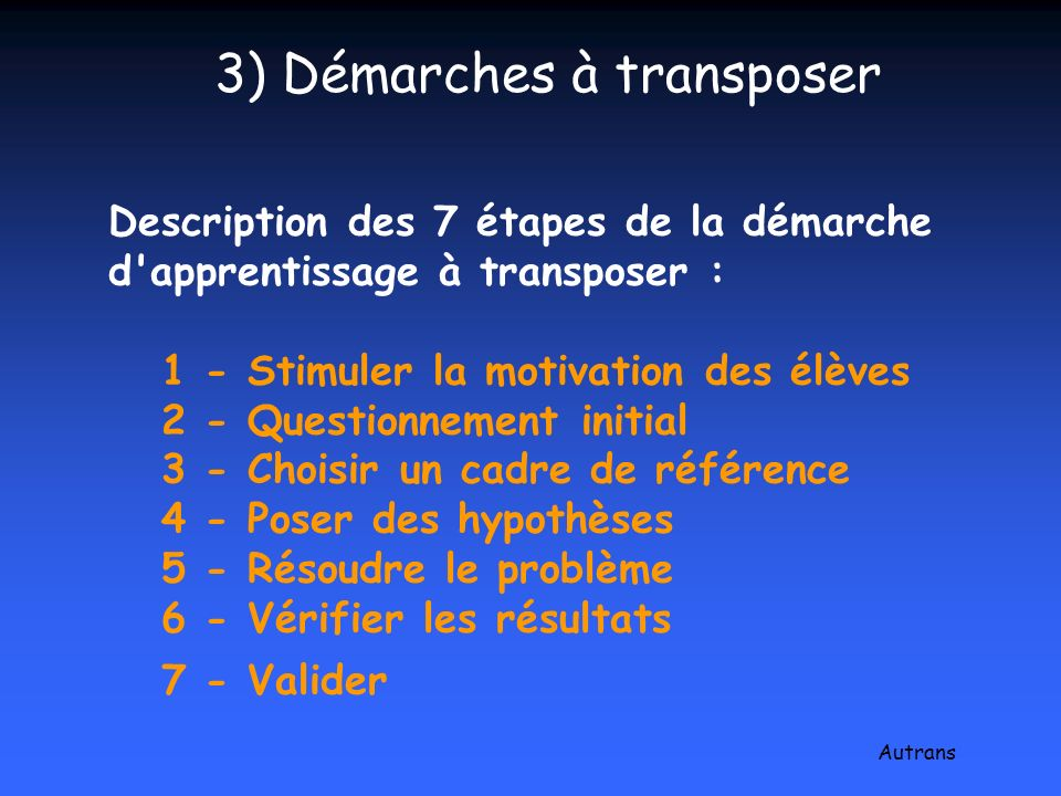 3) Démarches à transposer