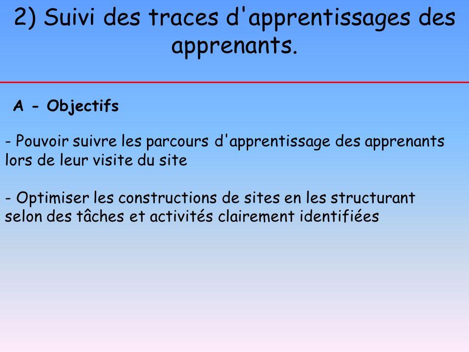 2) Suivi des traces d apprentissages des apprenants.
