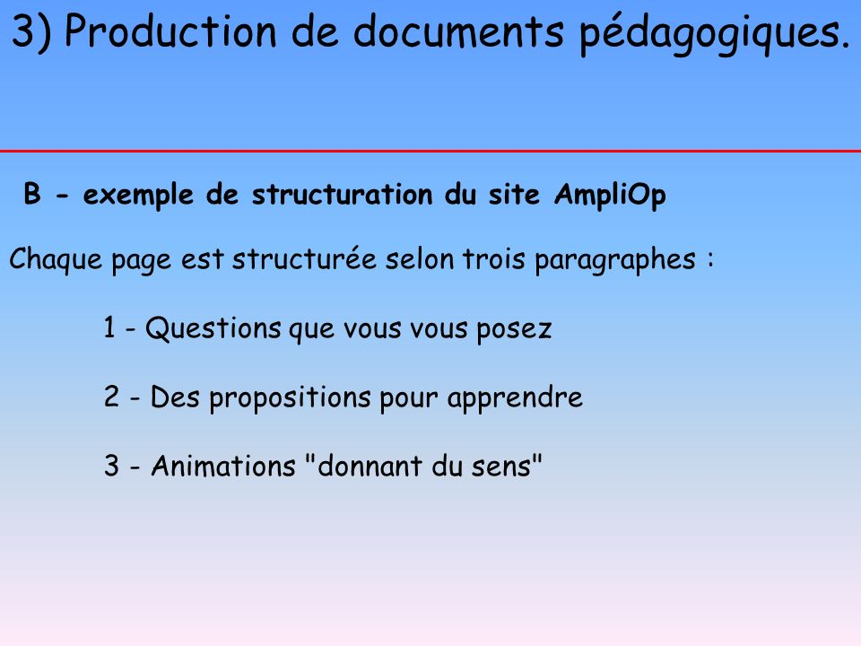 3) Production de documents pédagogiques.