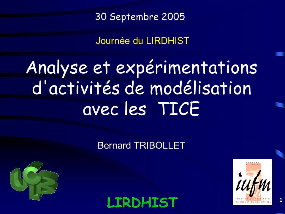 Analyse et expérimentations d activités de modélisation avec les TICE