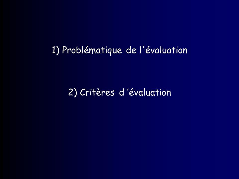 1) Problématique de l évaluation