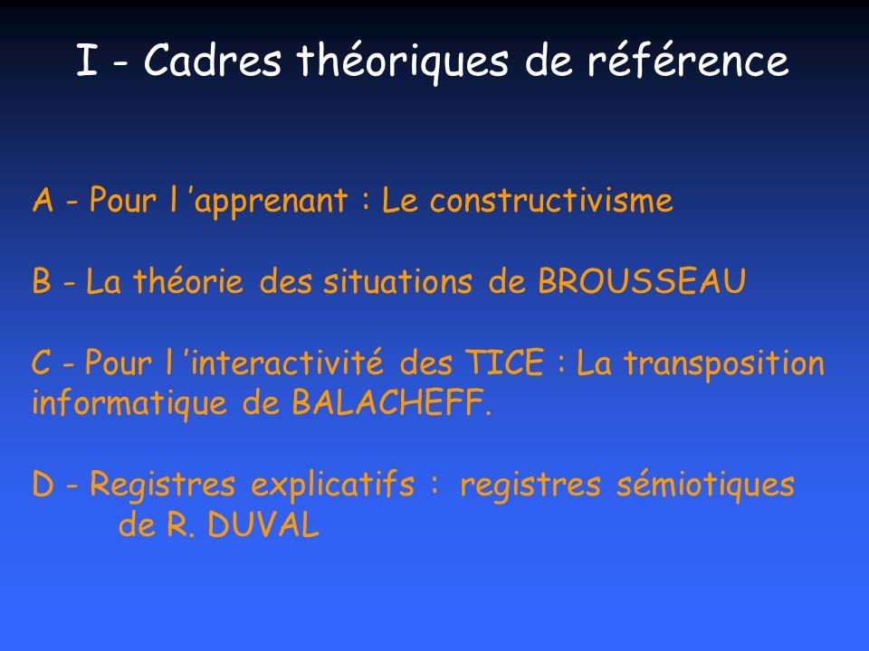 I - Cadres théoriques de référence