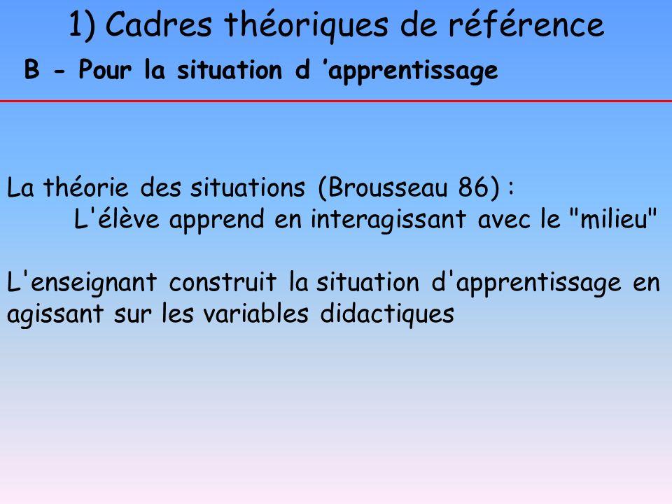 1) Cadres théoriques de référence
