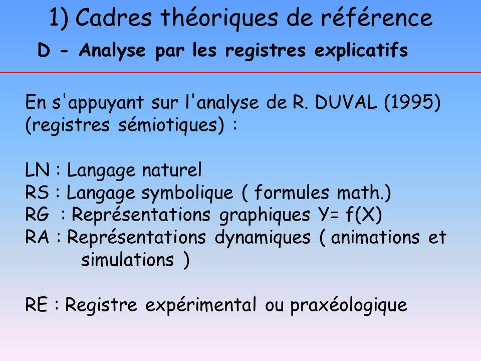 D - Analyse par les registres explicatifs
