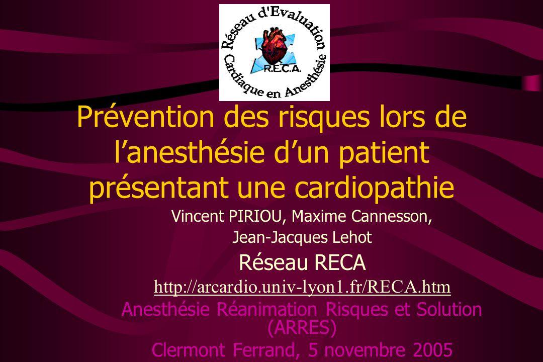 Prévention des risques lors de l'anesthésie d'un patient présentant une cardiopathie