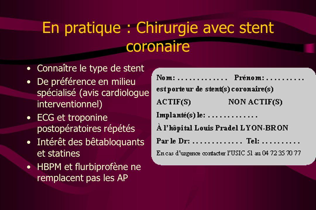 En pratique : Chirurgie avec stent coronaire