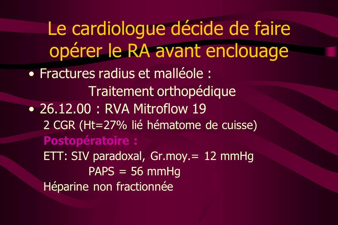 Le cardiologue décide de faire opérer le RA avant enclouage