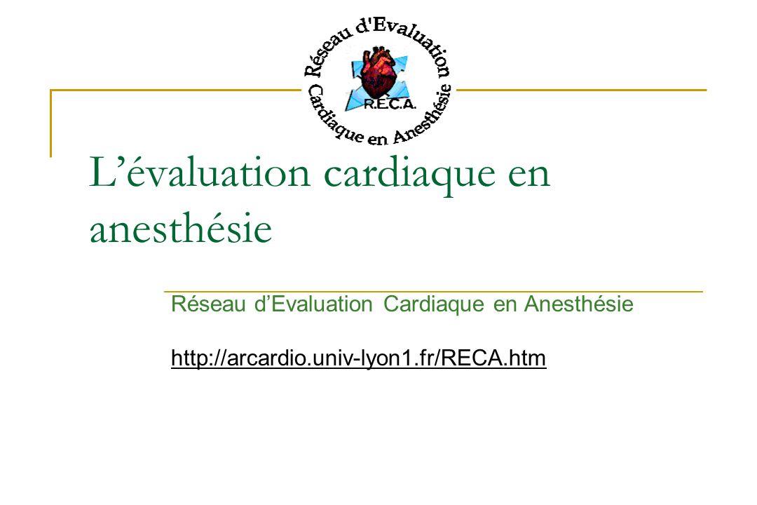 L'évaluation cardiaque en anesthésie