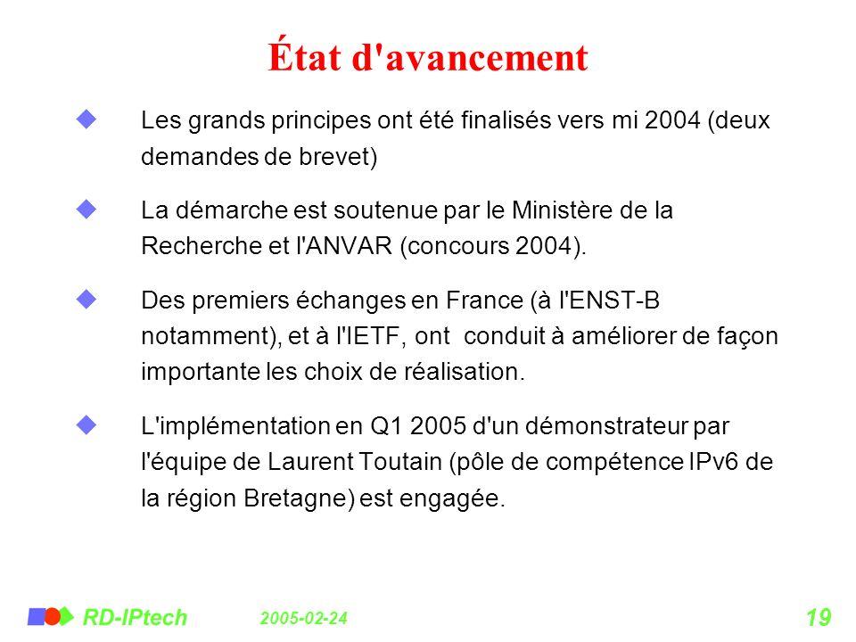 État d avancement Les grands principes ont été finalisés vers mi 2004 (deux demandes de brevet)