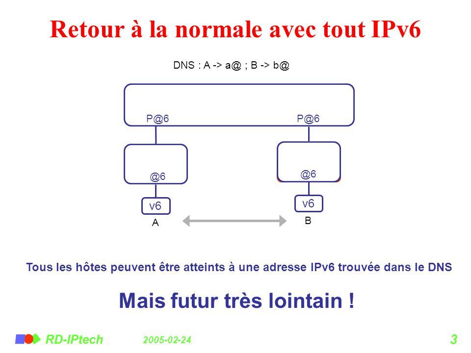 Retour à la normale avec tout IPv6