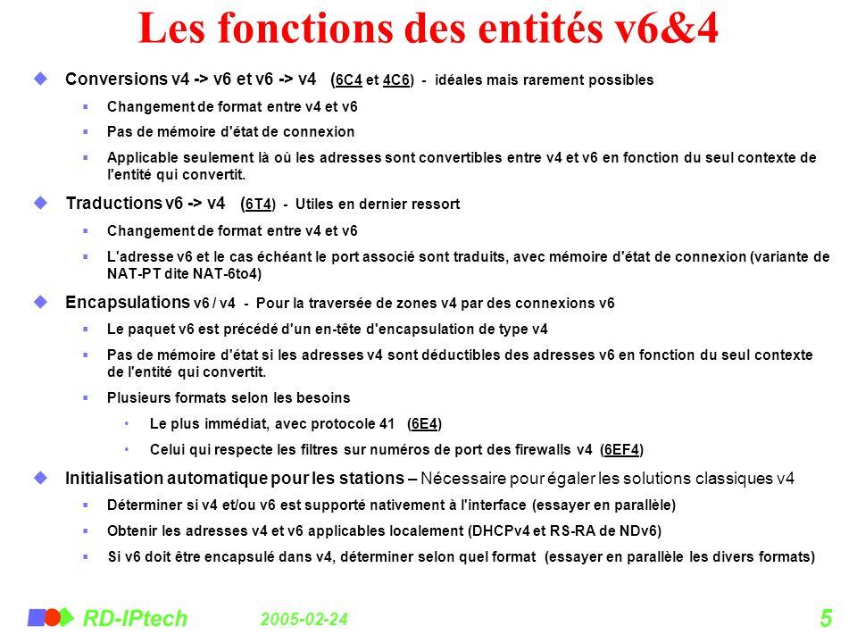 Les fonctions des entités v6&4