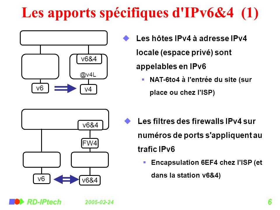 Les apports spécifiques d IPv6&4 (1)