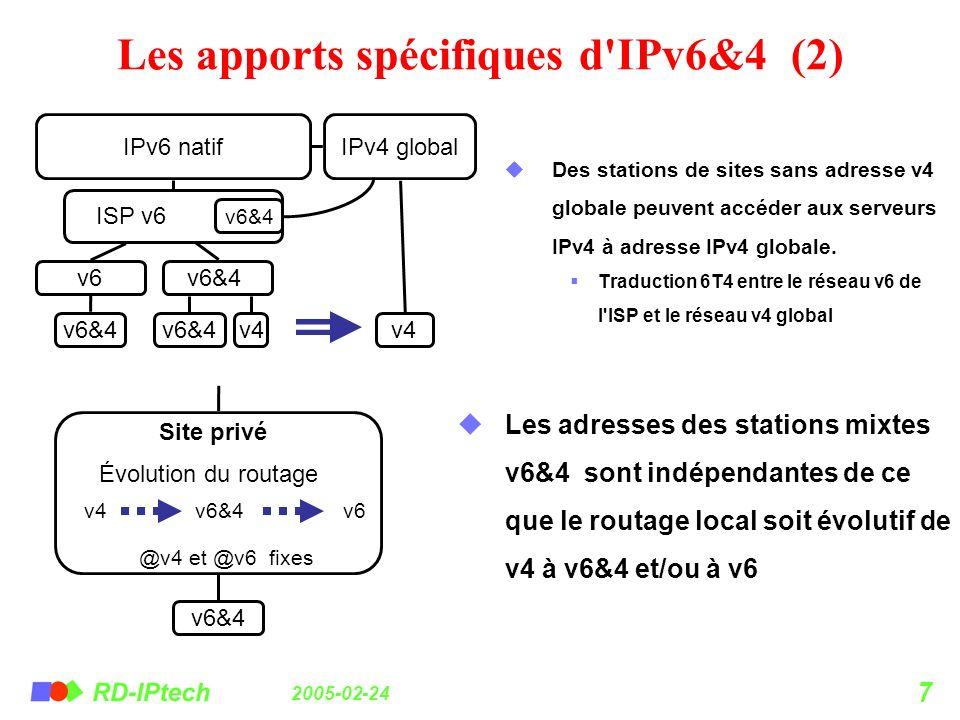 Les apports spécifiques d IPv6&4 (2)