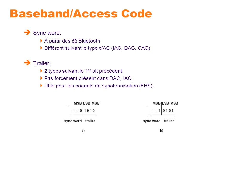 Baseband/Access Code Sync word: Trailer: À partir Bluetooth