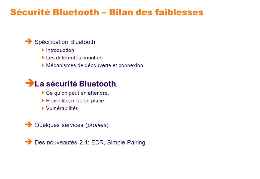 Sécurité Bluetooth – Bilan des faiblesses
