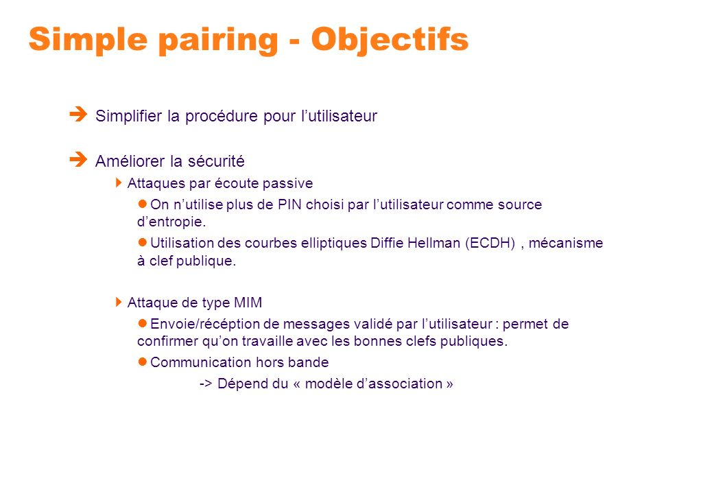 Simple pairing - Objectifs
