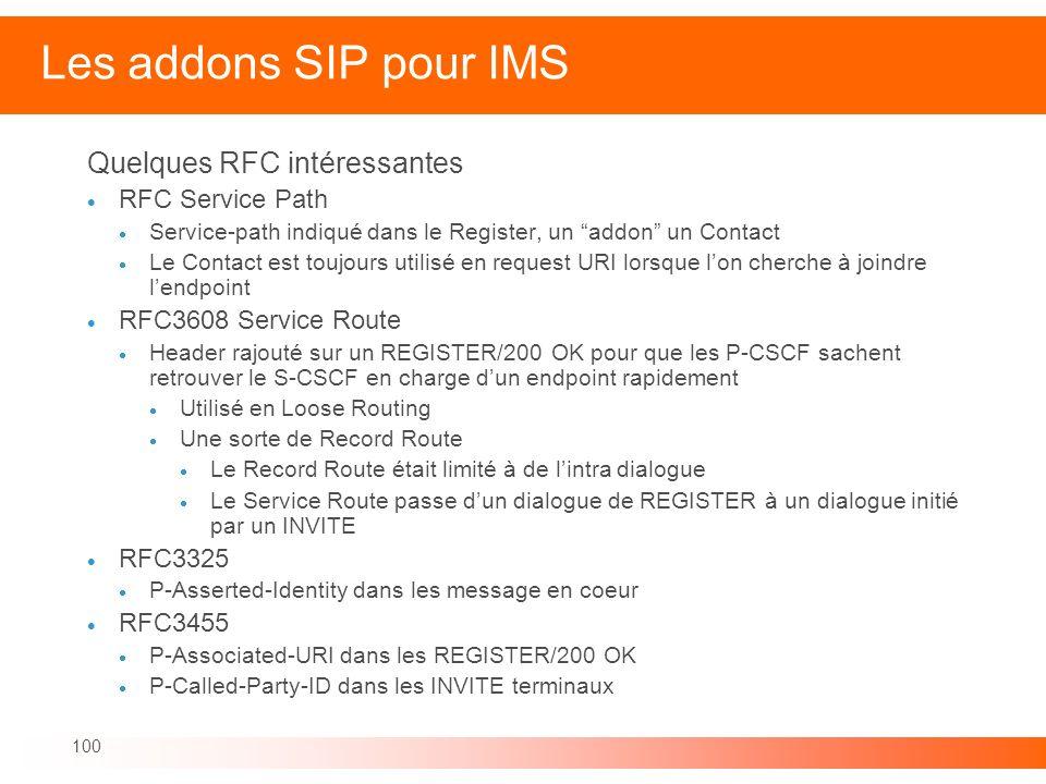 Les addons SIP pour IMS Quelques RFC intéressantes RFC Service Path