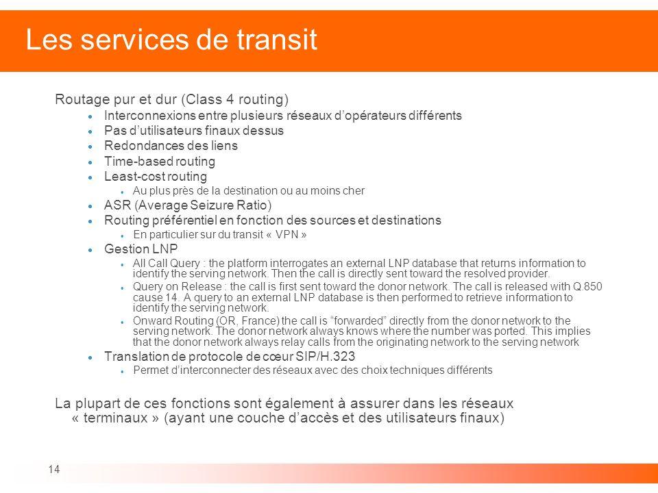 Les services de transit