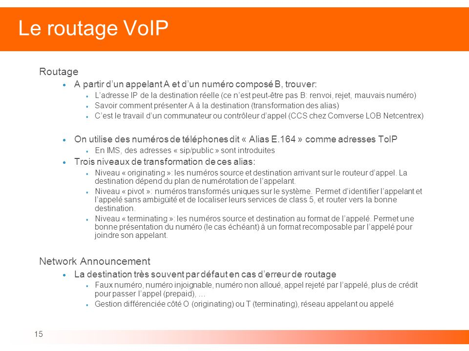 Le routage VoIP Routage Network Announcement