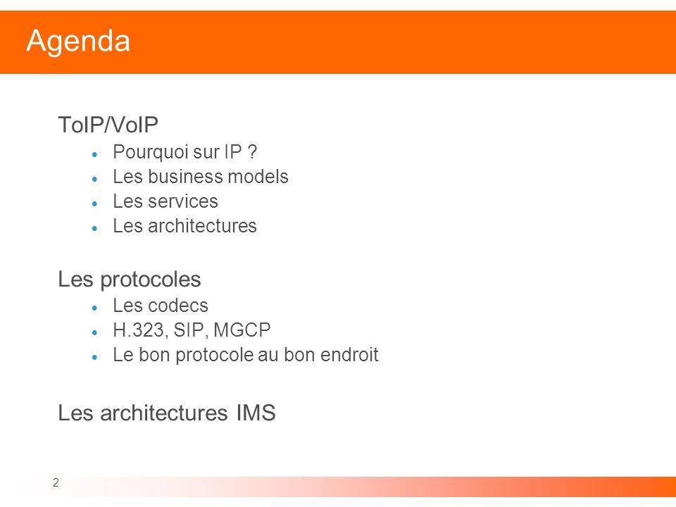 Agenda ToIP/VoIP Les protocoles Les architectures IMS