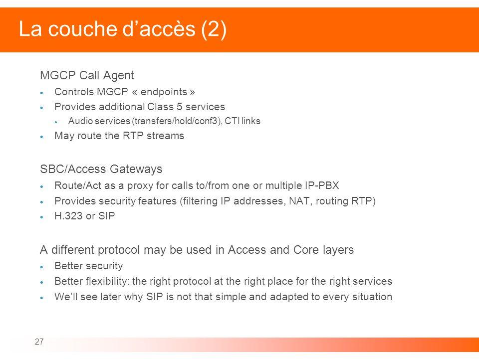 La couche d'accès (2) MGCP Call Agent SBC/Access Gateways