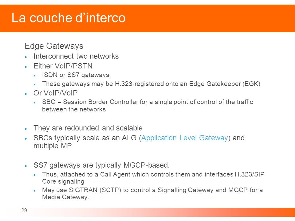 La couche d'interco Edge Gateways Interconnect two networks