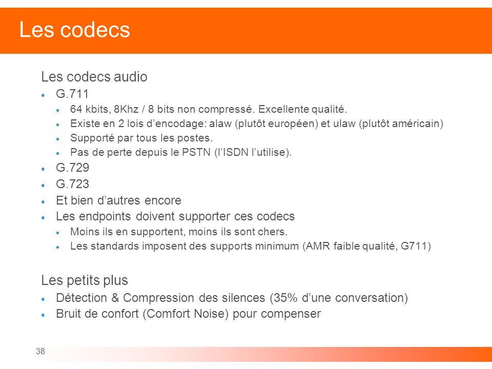Les codecs Les codecs audio Les petits plus G.711 G.729 G.723
