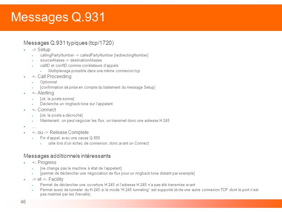 Messages Q.931 Messages Q.931 typiques (tcp/1720)