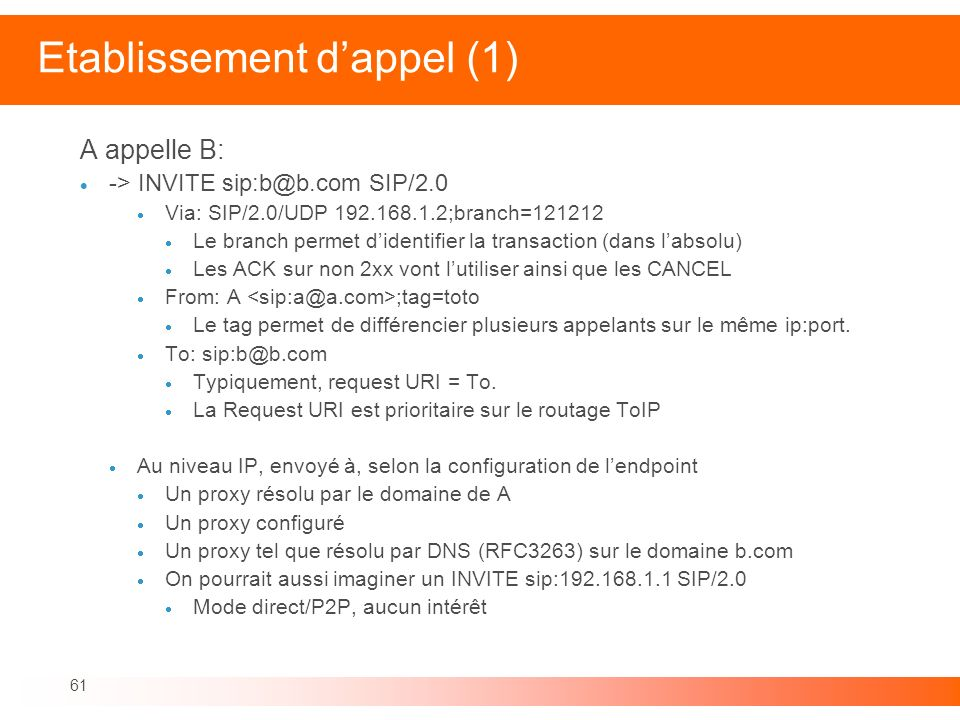 Etablissement d'appel (1)