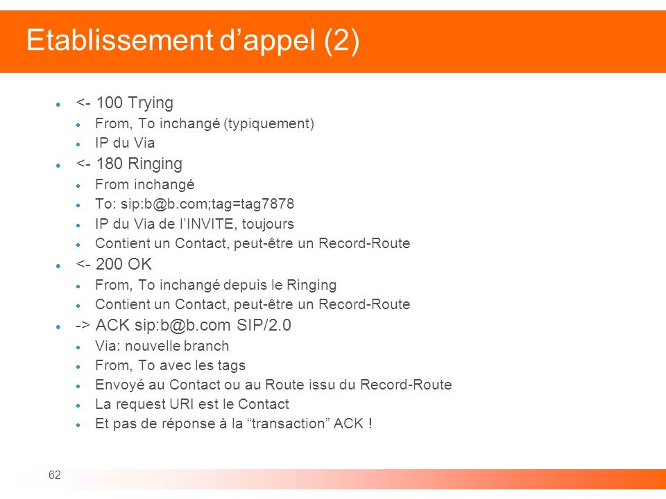Etablissement d'appel (2)